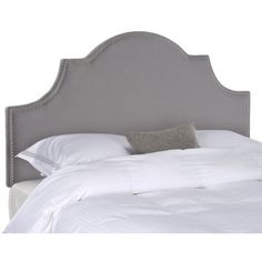 @Overstock.com - Safavieh Hallmar Arctic Grey Arched Headboard (Queen) - This beautiful, softly arched Hallmar queen-size headboard from Safavieh features a gorgeous, versatile arctic grey upholstery and a stunning silver nailhead design that is gracefully silhouetted around the edge, for a perfect accent to any decor.    http://www.overstock.com/Home-Garden/Safavieh-Hallmar-Arctic-Grey-Arched-Headboard-Queen/8306978/product.html?CID=214117 $224.09