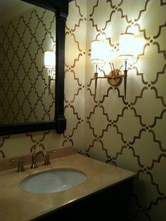 Moorish Trellis Stencil on bath walls by Maria Osorio | Royal Design Studio
