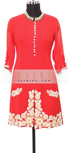 Buy Online from the link below. We ship worldwide (Free Shipping over US$100) http://www.kalkifashion.com/red-georgette-kurti-in-zardosi-and-thread-only-on-kalki.html