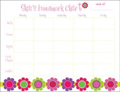 Personalized HomeworkSchedule Pad  Ink Color:Pink  Purple Design Colors:Multicolor Dimensions: 11 x 8.5   What a great way to...