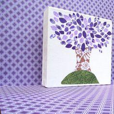 Purple Tree Art // purple leaves, 6x6 inch canvas, adoption fundraiser