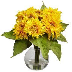 Faux golden sunflower arrangement in a clear glass vase. Product: Faux floral arrangement    Construction Material: