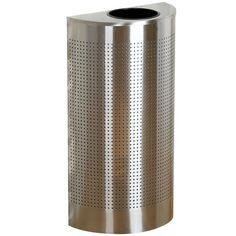 Rubbermaid SH12 Silhouettes Stainless Steel Designer Half Round Waste Receptacle - 12 Gallon (FGSH12SSPL)