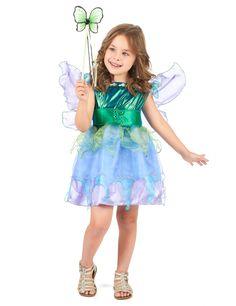 Disfraz de hada para niña: Este disfraz de hada azul para niña está compuesto por un vestido y un par de alas. El vestido de color azul tiene una enagua de tul. Un corsé está presente para adaptar...