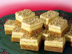 Orechový zákusok 5 vajec 180 g prášk cukru 180 g masla 1 vanil cukor 100 g mlet orechov 100 g polohrub múky 1/2 prdopeč 2 cesto: 5 vajec 5 PL polohrub múky 5 PL cukru 2 PL oleja 1/2 prdopeč Krém: 4 dcl mlieka 1 vanil puding 1 maslo (250 g) 200 g prášk cukru marhuľ džem Upečieme piškóty pri 180 ° 20 min  Prvú piškótu orieškovú prilepíme k druhej piškóte džemom. Na vrch druhej piškóty navrstvíme krém. Posypeme buď mletými orieškami alebo nastrúh čokoládou