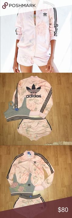 Adidas floral set discontinued Adidas floral set    Sizes• sports bra M• • Shorts XS• Jacket XS• in great condition worn 3 times discontinued Adidas Other
