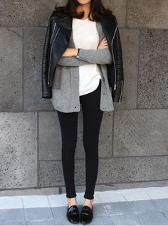 leather jacket, cardigan, tee, jeans & loafers #style #fashion #casual