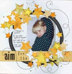 scrapbook layout - use leaves instead of stars for fall layout Kids Scrapbook, Scrapbook Paper Crafts, Scrapbook Cards, Scrapbooking Ideas, Scrapbook Photos, School Scrapbook, Scrapbook Sketches, Scrapbook Page Layouts, Scrapbook Patterns