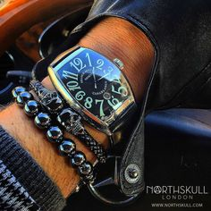 While wearing his Franck Muller Casablanca 6850 Watch @g.ntontos has nicely layered his Northskull bracelets with our Natural Hematite Stone Macramé Bracelet and our Premium Gunmetal Black Twin Skull Bracelet. Great combo ! | Available now at Northskull.com | For a chance to get featured post a cool photo of your Northskull jewelry with the tag #Northskullfanpic on Instagram
