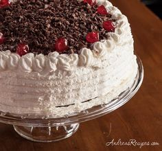 Black Forest Cake (Schwarzwälder Kirschtorte) ... [Ideas: mix cherries into the cake batter. Use chocolate frosting, or chocolate whipped cream. Use Sour Cherry Pie filling.]