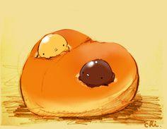 名前はちょっと違うけどこのパン好きです。チョコクリームとカスタードクリームのパンが一つにくっついてます。