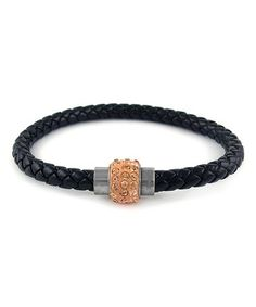 Loving this Black & Champagne Leather Bracelet With Swarovski® Crystals on #zulily! #zulilyfinds