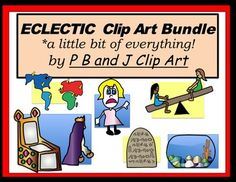 Need a bundle of assorted clip art? Eclectic Clip Art has a bit of everything!  32 pieces, colored 32 pieces, black and white  These images were originally drawn for a customer who sent a list of vocabulary words that needed images.  I hope you can use them as well!
