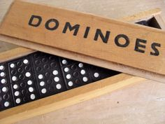 Vintage DOMINOES Boxed Set of Dominos Black & White Decor Vintage Game Game Pieces Mixed Media/Assemblage Collectible Retro Game Pub Game by BigGirlSmallWorld on Etsy