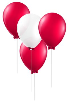 Red and White Balloons PNG Clip Art Image