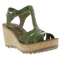 Fly London Gold Green Womens Sandals