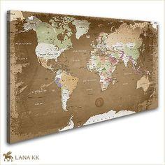 Leinwand Bild Weltkarte Oldstyle