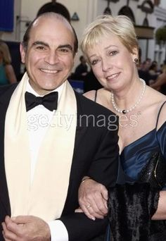 David with wife, Sheila The Suchet family is a very united one. His family often accompanies him while he is filming away from England. Agatha Christie's Poirot, Hercule Poirot, Vintage Couples, Old Couples, Detective, I Love The World, David Suchet, Midsomer Murders, Miss Marple