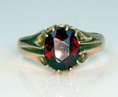 Finest Antique Victorian 9ct Gold Oval Cut Bohemian Garnet Solitaire Ring