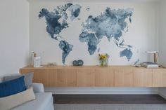 "World Map Wallpaper ""Dusky World"" styled by Ligia Casanova."