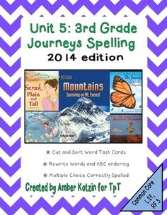 This bundle contains Spelling worksheets for all 5 stories for the © 2014 3rd Grade Journeys: Unit 5.There are a total of 15 student pages to be used as supplemental activities.  Each story has a cut and sort word sheet, rewrite and ABC worksheet, and a multiple choice to identify the correctly spelled word worksheet.