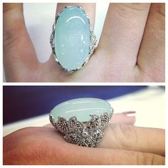 Statement ring featuring Green Chalcedony gem. So nice!