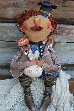 Купить Мужичок хозяйственный желает пристроиться!... - комбинированный, текстильная кукла, ароматизированная кукла, интерьерная кукла