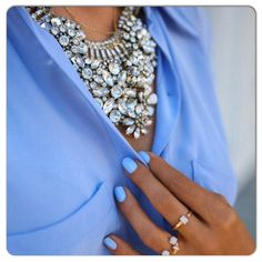 New Post - Baby Blues, wearing a few of my #favorite #accessories #necklace #blue #statementnecklace #nailpolish #vitafede #rings --> http://vivaluxury.blogspot.com #Padgram