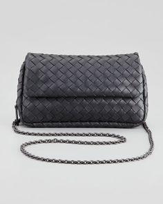 Woven Mini Crossbody Bag, Charcoal by Bottega Veneta at Bergdorf Goodman.