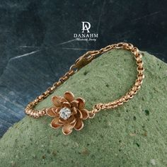 7c284548d8e Flower Bracelet with Desert Diamond, Sterling Silver, Rose Gold Plated,  BR009C by Danahm1975