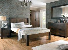 Oak Wood Vinyl Bedroom With Light Grey Wallpaper