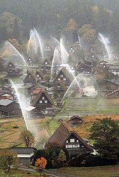 The World Heritage, Shirakawa Village in autumn, Japan 白川郷 fire drill Places Around The World, Around The Worlds, Beautiful World, Beautiful Places, Places To Travel, Places To Visit, Sea Of Japan, Gifu, World Heritage Sites