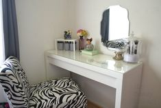 Bedroom:Simple White Makeup Table Glass Top With Unusual Wall Mount Mirror Pattern And Zebras Vanity Stool In White Master Bedroom For Momen Decor Idea Make Up Vanity Ideas For Modern Bedroom