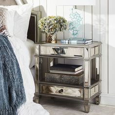 Hayworth Mirrored Silver Nightstand, love this! Mirrored Bedroom Furniture, Home Furniture, Bedroom Decor, Bedroom Ideas, Furniture Stores, Cherry Furniture, Luxury Furniture, Silver Nightstand, 2 Drawer Nightstand