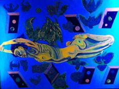 """""""Surrealistic Nude"""" black-light painting by Chris Rawlings."""