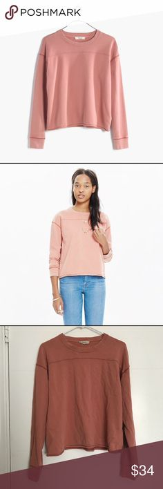 Dusty Pink Cutoff Long Sleeve Sweater Sweatshirt Madewell Dusty Pink Cutoff Long Sleeve Sweater Sweatshirt Sz L  In great used condition. No holes, rips, or stains.  Measurements: 23.5in from armpit to armpit and 21in in length Madewell Sweaters