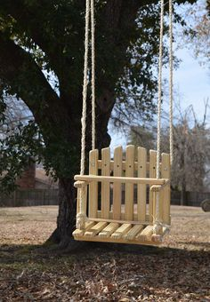 Kids Wooden Swing Backyard Outdoor Toys by HiddenCreekCrafts, $65.00 #woodworkingforkids