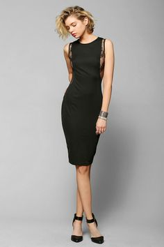 Glamorous Lace-Inset Bodycon Midi Dress - Urban Outfitters