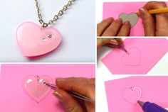 Make an adorable heart pendant with glue Diy Arts And Crafts, Crafts To Do, Diy Craft Projects, Resin Jewelry, Handmade Jewelry, Glue Gun Crafts, Diy Pins, Mothers Day Crafts, Diy For Kids