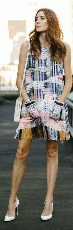 Fringed Pattern Dress N Y F W Fall Inspo #Fashionistas
