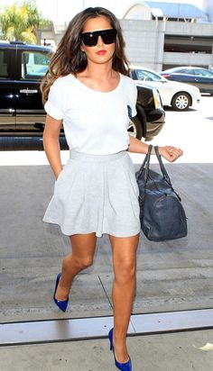baggy tee, skirt, bright blue shoes