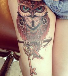 Owl with key in middle  41 Colour Owl Tattoo on Thigh