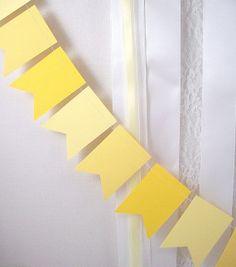 Yellow Flags Pennant 6ft.  ///////  Wedding Garland // Birthday Party Decor // Nursery Decor // Baby Shower Decor //. $10.50, via Etsy.