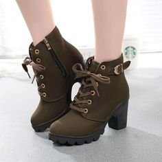 8402ae0d5c268 Womens Boots Fashion High Heel Lace Up Ankle Boots Ladies Buckle Platform  Shoes Winter Warm Fur PU Leather Boots Sep