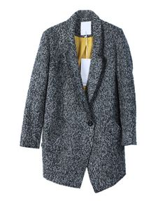 Gray Tweed Coat with Single Button Closure