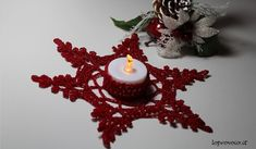 Portacandela all'uncinetto - Crochet candle holder