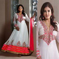 USD 84.61 Raveena Tandon White Faux Georgette Long Anarkali Suit 28595