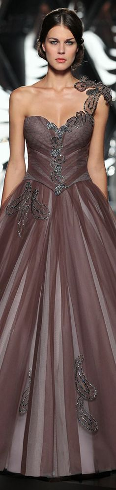The Mireille Dagher Fall-Winter 2013-14 Haute Couture Collection #oneshoulder #formal #dress          jagladyPM
