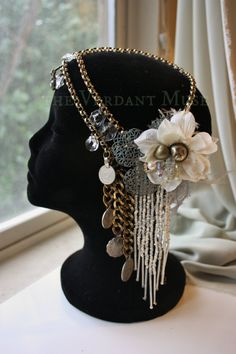 Vintage chain headdress by the Verdant Muse