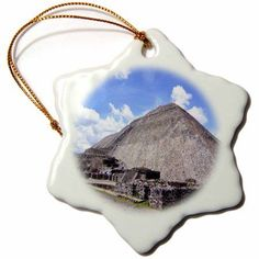 3dRose Pyramid Of The Sun Mexico City Mexico, Snowflake Ornament, Porcelain, 3-inch